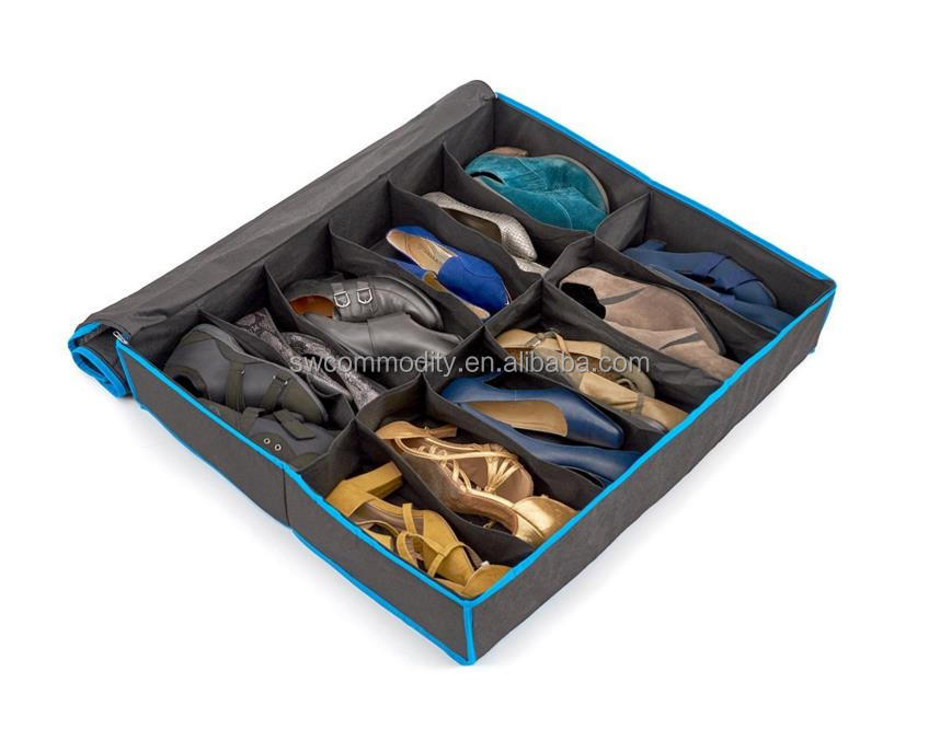 1 X 12 Pairs Shoes Organizer Holder Intake Under Bed Closet Storage Fabric Bag Box