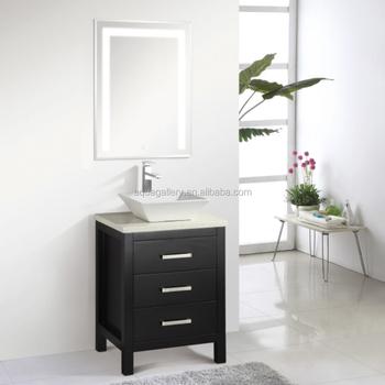 Three Drawers Single Art Sink Espresso Bathroom Furniture With Led Mirror
