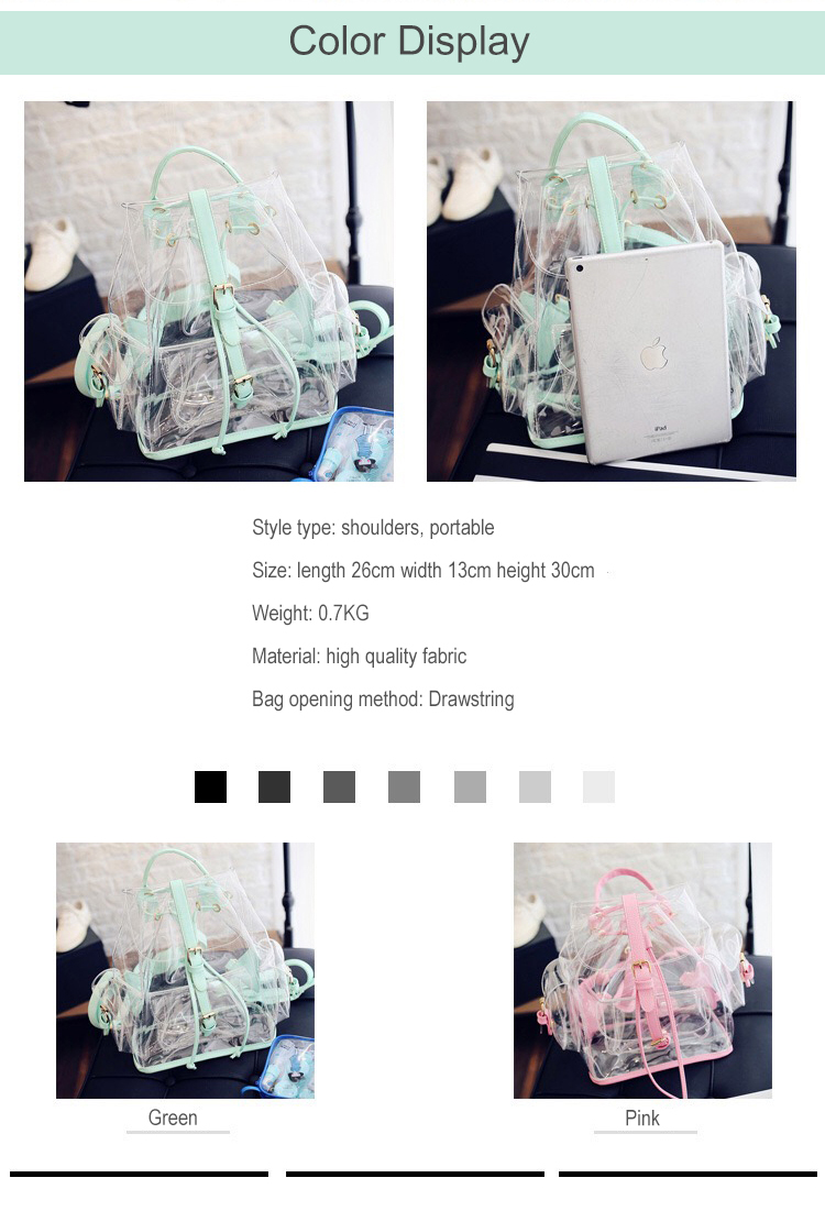 2019 Hot Sale Girl Candy Jelly Transparent Clear PVC Backpack