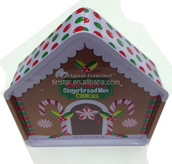 special embossed design house shaped tin box for christmas candy box