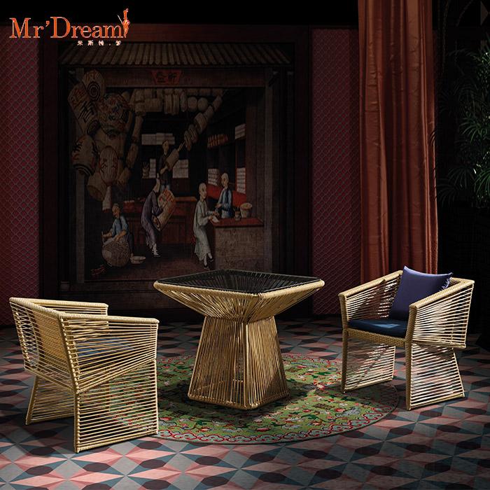 Garantía de comercio impermeable de mimbre café comedor al aire libre silla (aceptar personalizar)