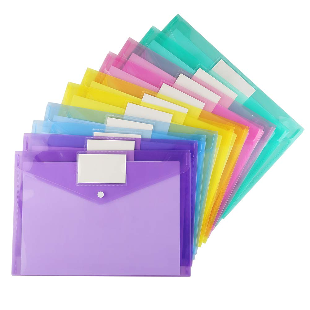Plastic Enveloppen Clear Document Mappen ONS Brief A4 Size Bestand Enveloppen met Label Pocket & Drukknoop Sluiting