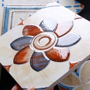 Pure handmade painted encaustic tile decorative ceramic tiles with flower design 200*200mm