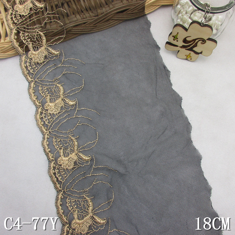 "18cm lace embroidery black net 7"" inch golden embroidered lace material"