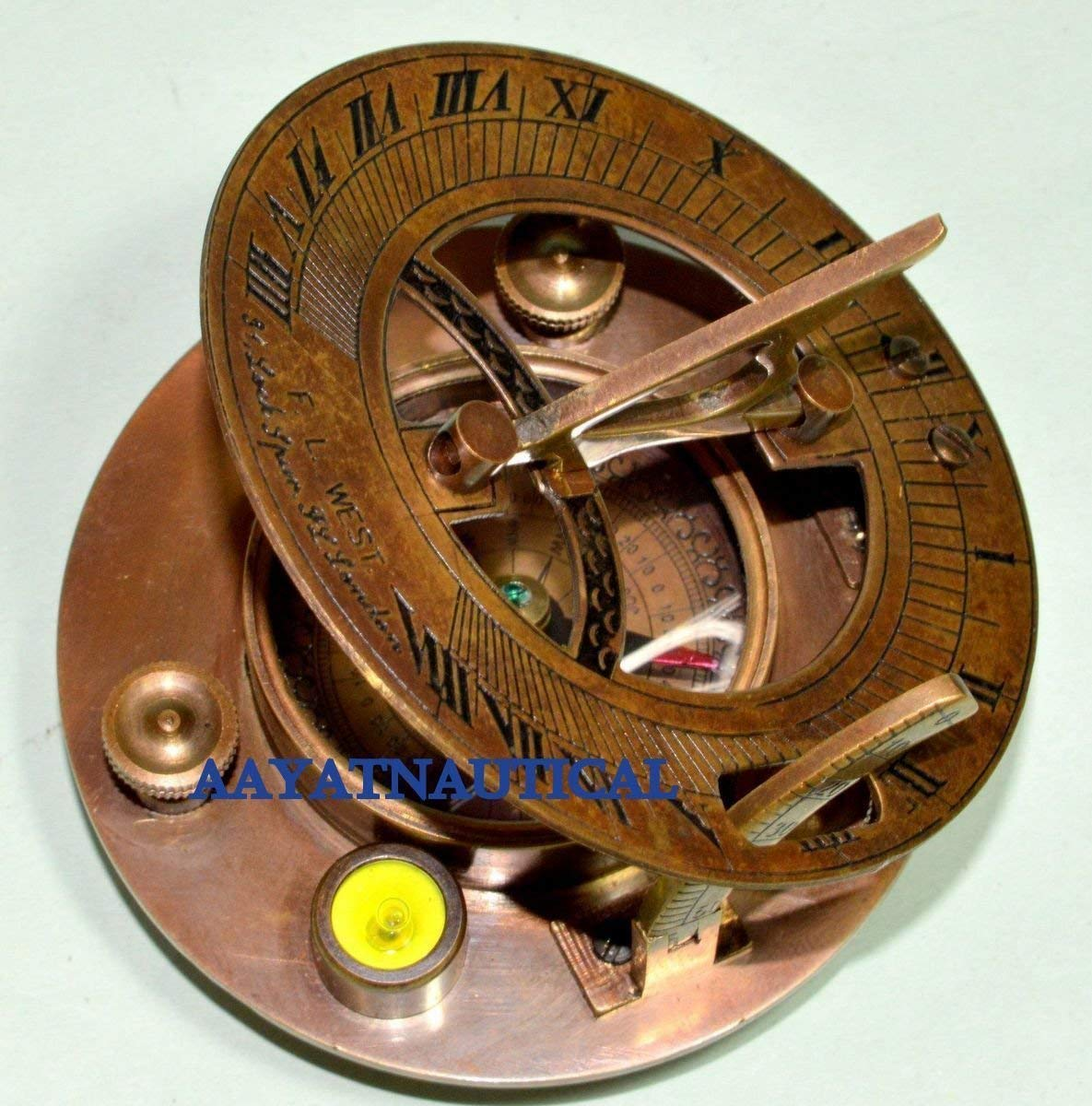 Antique Finish Brass Sundial Compass West London With Brown Leather Case Maritime Compasses