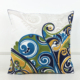 Abstract Blue Picasso Design Crochet Embroidered Cushion Cover