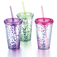 Wholesale Plastic Heat insulated Glitter Tumbler With Straw
