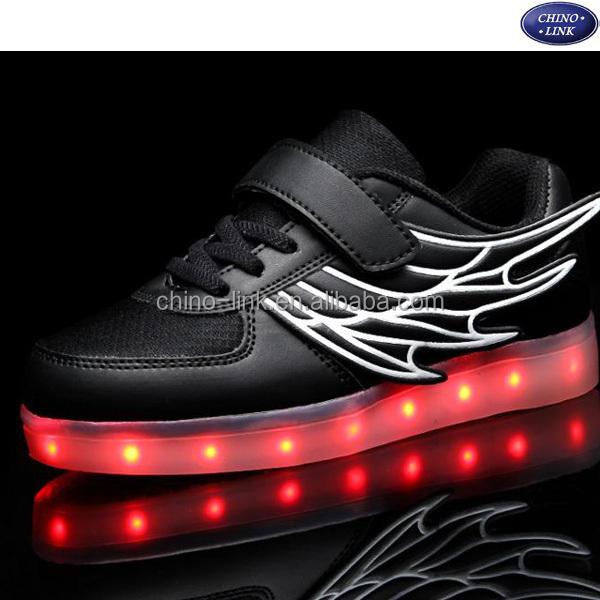 0374f485 25-37 размер Крыло ангела Дети обувь с подсветкой Детская светящаяся  Повседневная Мальчики Девочки светящиеся
