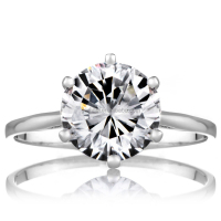 18K White Gold Plated 2.5 Carat Cut CZ Diamond Solitaire Anniversary Ring