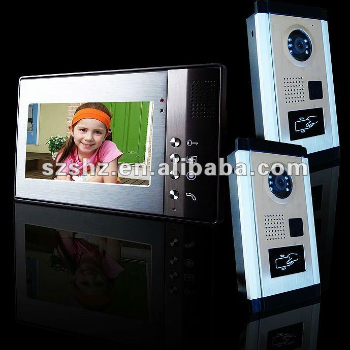 Best 7'' color ID card unlocking color video door phone , handsfree access control system parts