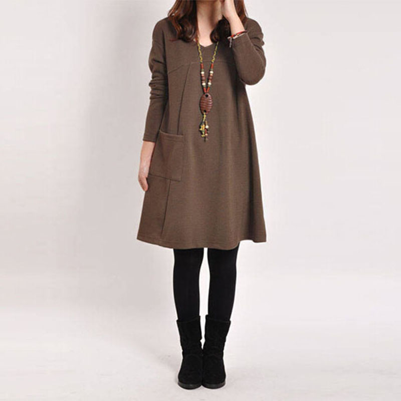5 Colors 8 Sizes Spring Autumn 2016 Elegant Women Casual Long Sleeve Pocket Dress Solid O