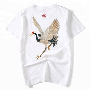 Animal Embroidery Chinese Traditional Crew Neck Casual Men T Shirt