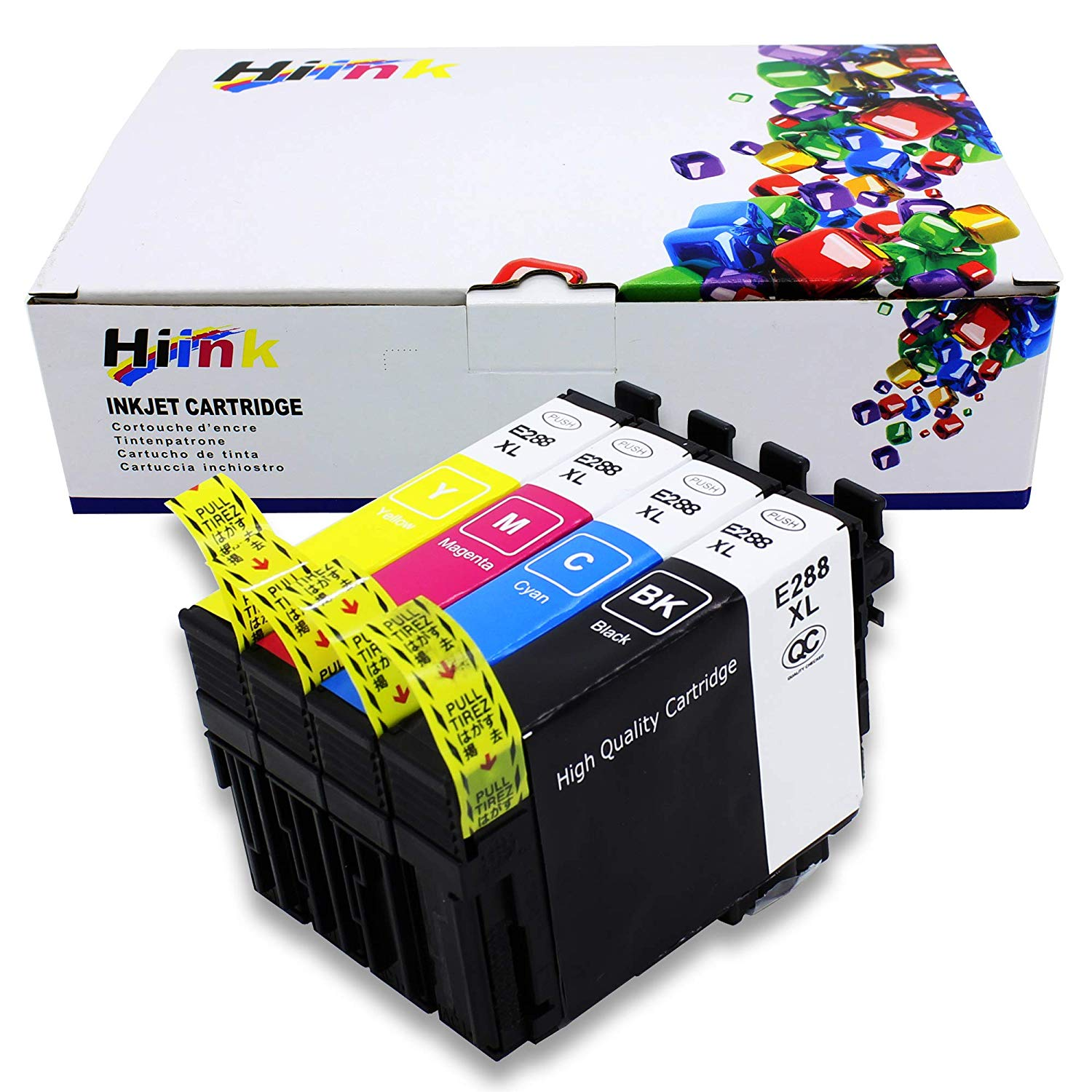 HIINK Remanufactured Ink Cartridge Replacement for Epson T288 288XL Ink Cartridge High Yiled use with Epson Expression XP-330 XP-340 XP-430 XP-434 XP-440 XP-446 (Black Cyan Magenta Yellow, 4 Pack)