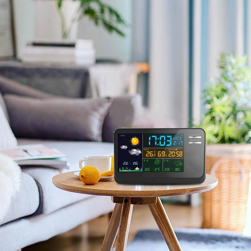 LED Backlight Wireless Weather Station with Forecast Humidity Temperature Alarm Clock and Outdoor Sensor