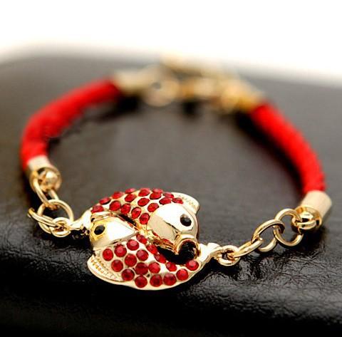 Китайский стиль лаки браслет, Двойной рыба верхний класс вмонтированная кристалл позолота красный браслет S019