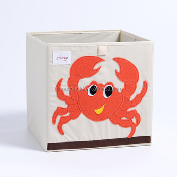 Crab Animal Pattern Canvas Toy Storage Box Organizer For Kids