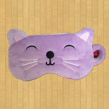 Popular lovely kid cat pink purple animal shape sleeping eye mask Yangzhou manufacturer