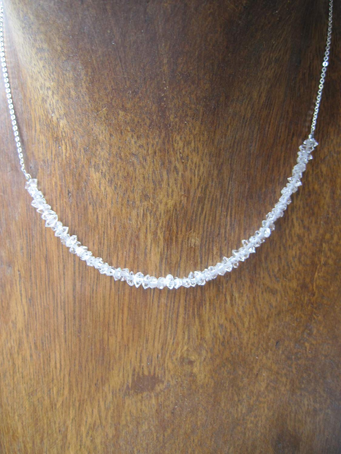 Herkimer Diamond Necklace 925 Sterling silver chain extender 1 inches - Size 16,18,20 inches