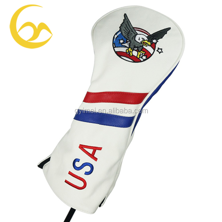 Custom made club lederen headcovers golf gebreide borduren logo driver headcovers