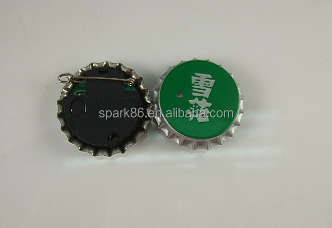 35,40mm round shape led bottle cap metal badge pin
