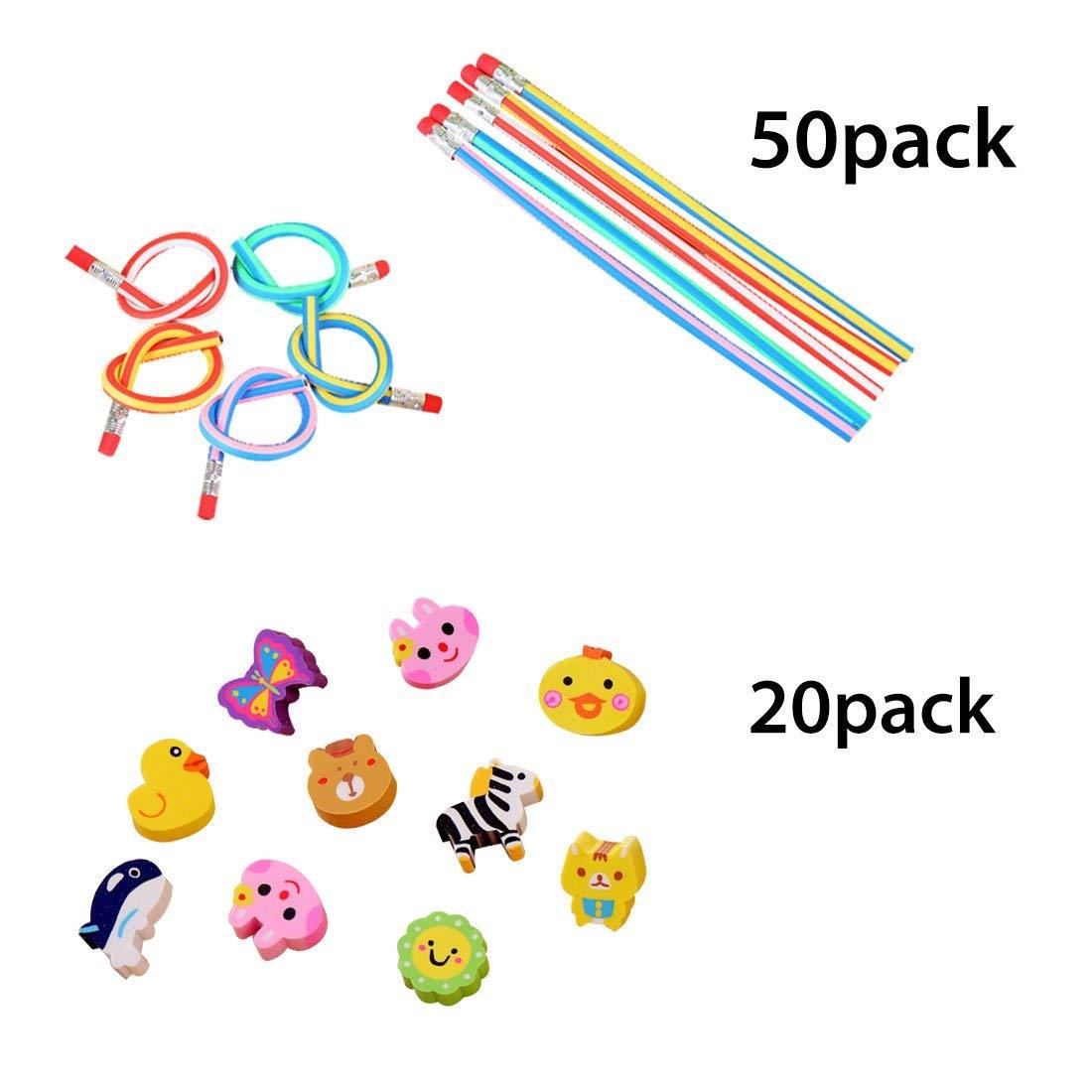 iSuperb 50 pieces Pencils and 20 pieces Cute Cartoon Eraser Colorful Soft Flexible Bendy Pencils for Kids (Pencil& eraser)