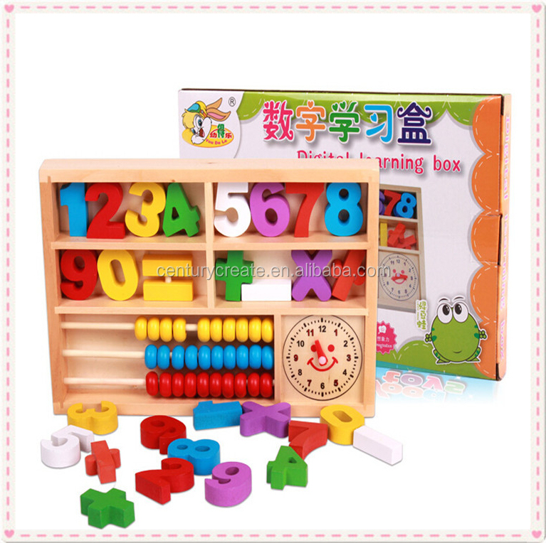 Educational Wood Digital Study Box wooden Baby Learing Computing toys