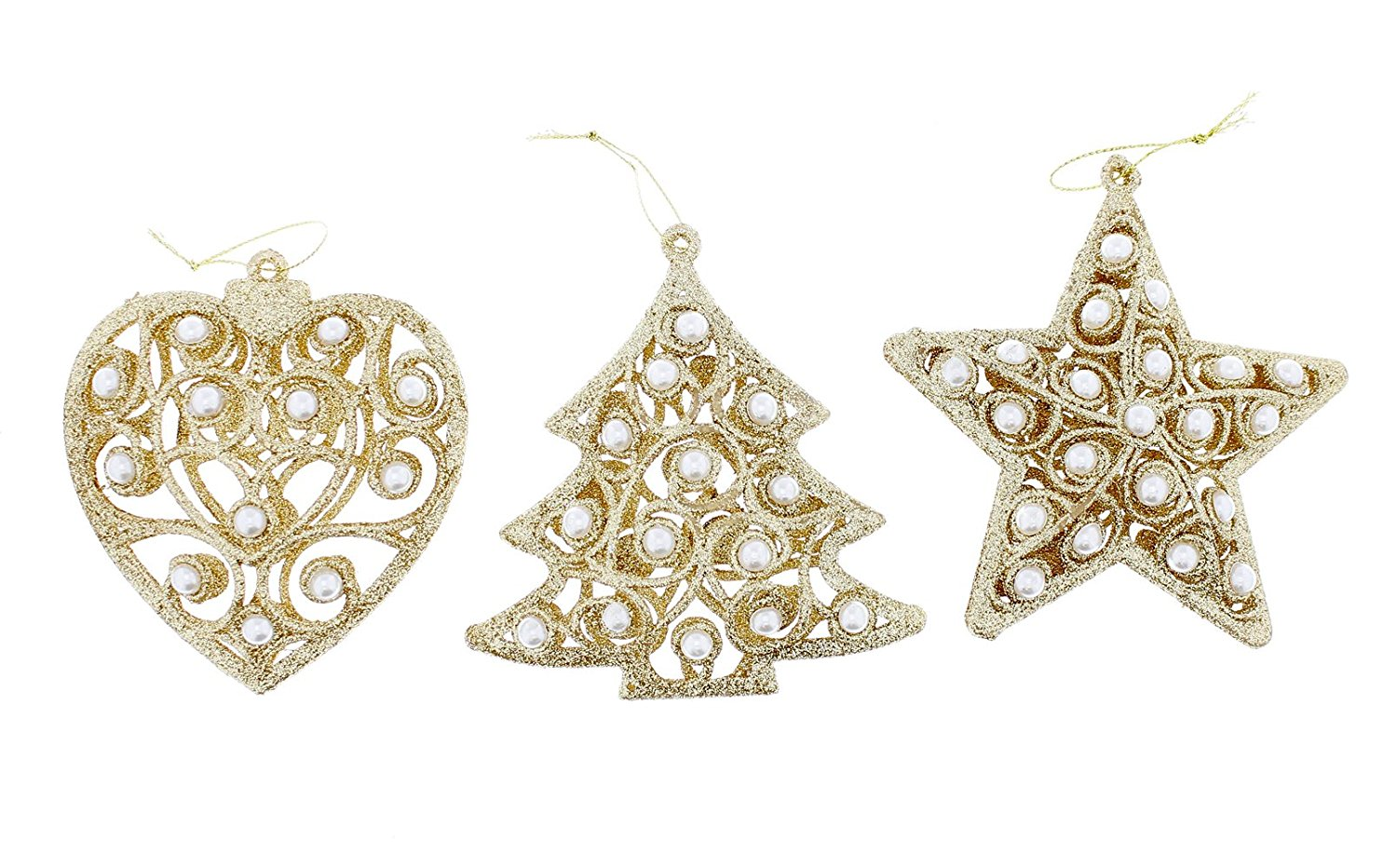 Festive Elegant Shimmering Sparkling Christmas Holiday Tree, Star, & Heart Glitter Ornaments with Pearls, Gold, Medium, 3 Pack, 4""