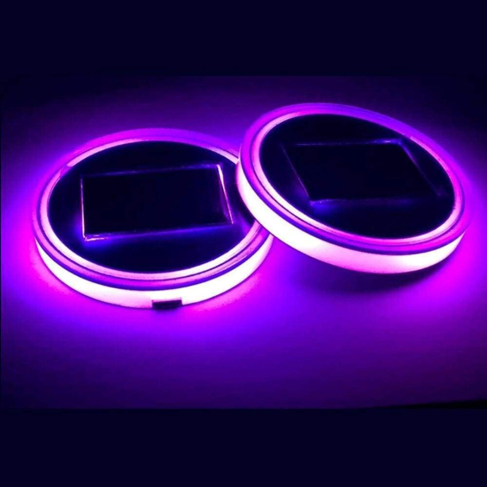 Goodie grab LED Lights for Car Interior - Solar Powered LED Cup Mats (Pink/S / 1PC)