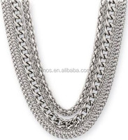 Stainless Steel Multiple Chain Necklace with Toggle Clasp