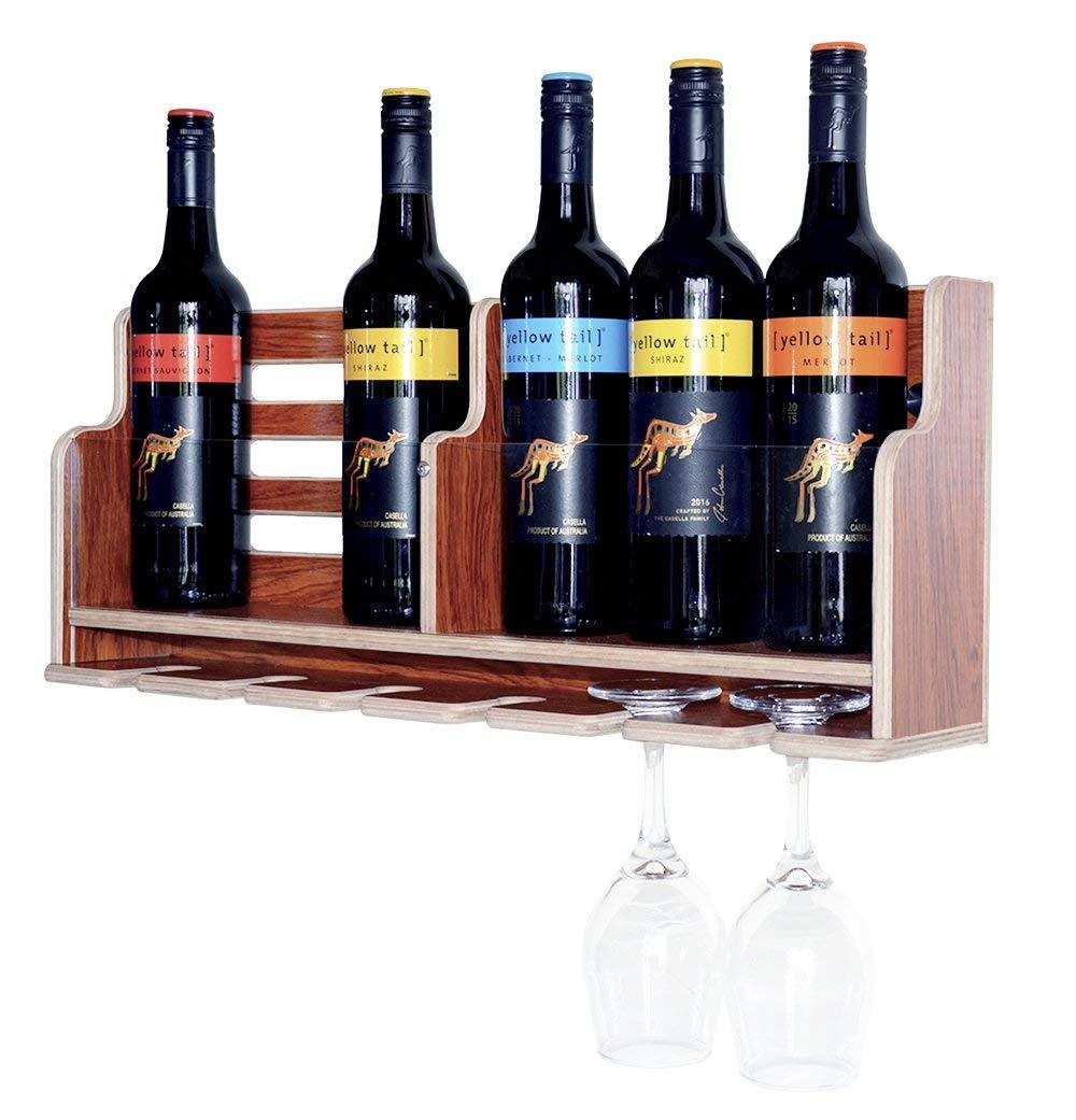 Wine Rack Wall Mounted Wine Racks (NEW) With Goblet Holder, Wall Mount Organizer, Wine Bottle Rack Shelf, Wooden Red