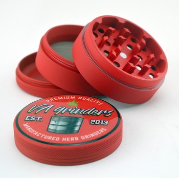 Red matte herb grinder customize rolling tray for weed with oem logo, carry bag,gift packing