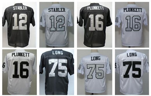 a0f9407d2  12 Ken Stabler Jersey 75 Howie Long 16 Jim Plunkett Men Adult Football  Throwback Jerseys