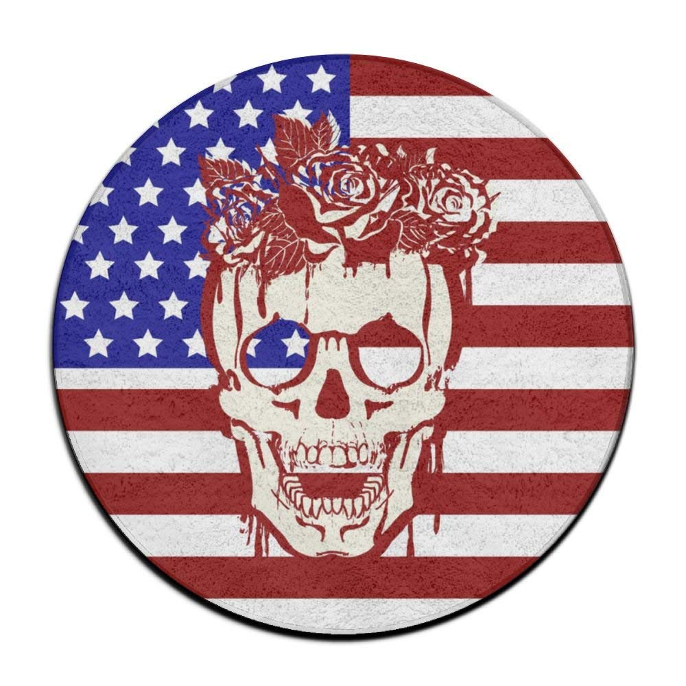 XTingIy American Flag Skull Rose Home Life Flannel Non-Slip Living RoomRound\r\n Rug Mats Anti-Static