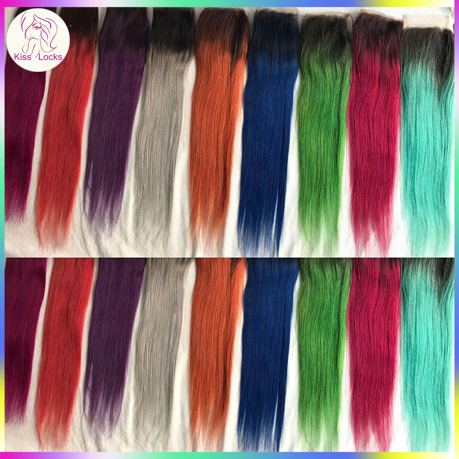 Ombre Colored Swiss Lace Closure Different Colors Bluegreypink