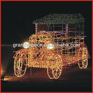 Beautiful luxurious LED yellow 3D motif car for festival decoration LED christmas lights, LED holiday lights