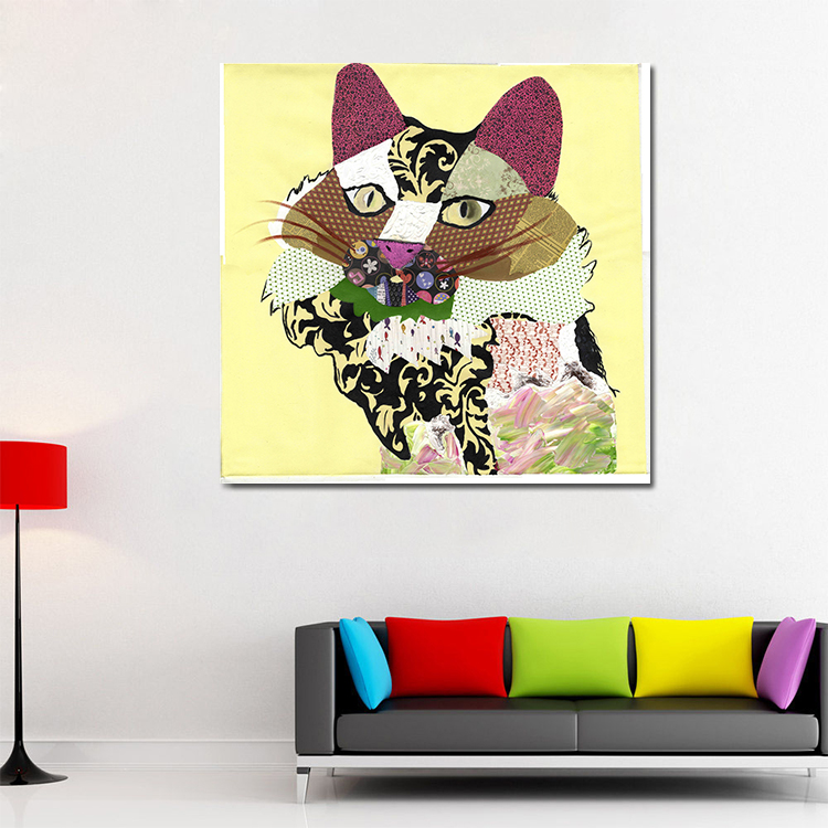 Frameless colorful animal hand painted printed canvas base Oil Painting Cat Pussy Wall Art abstract cat paintings