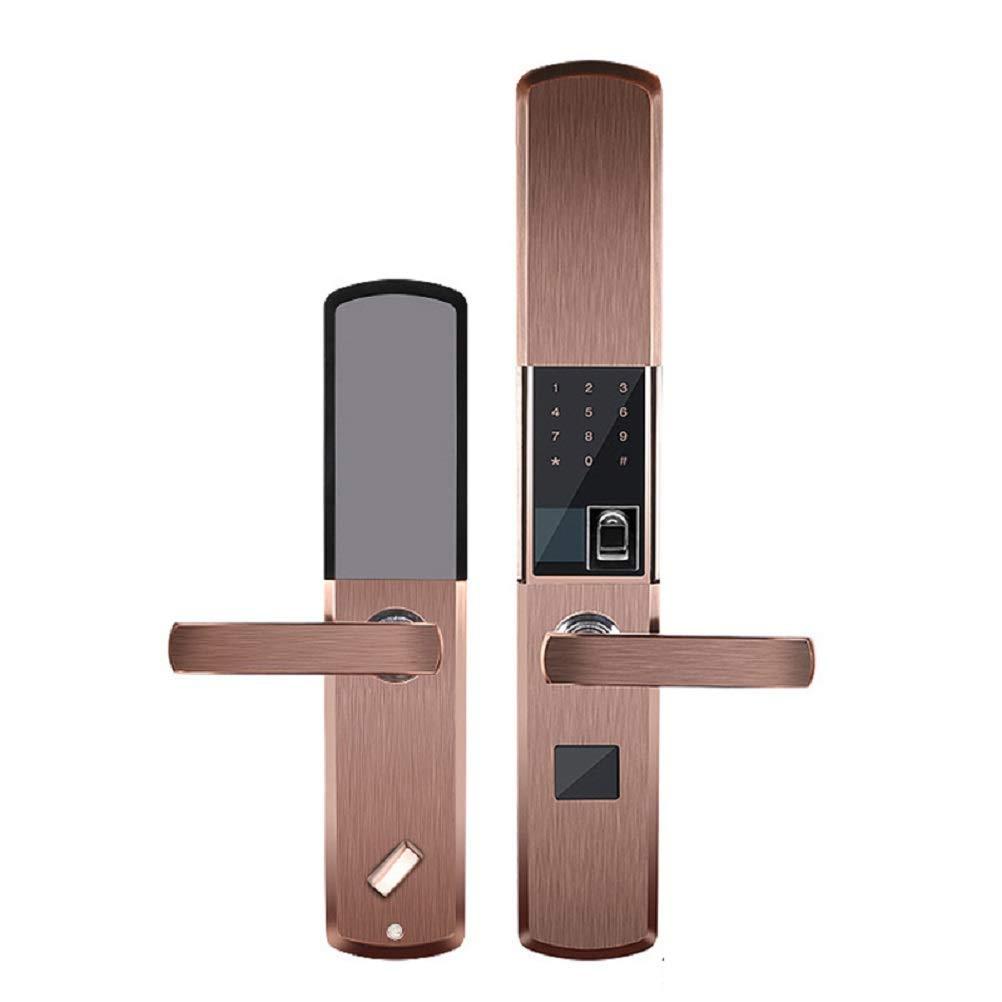 Slide Fingerprint Lock Fingerprint Lock Semiconductor Optical Interior Door Security Door Big Wooden Door Intelligent Home Feeling APP (Slide semi-conducting, Golden and red Bronze)