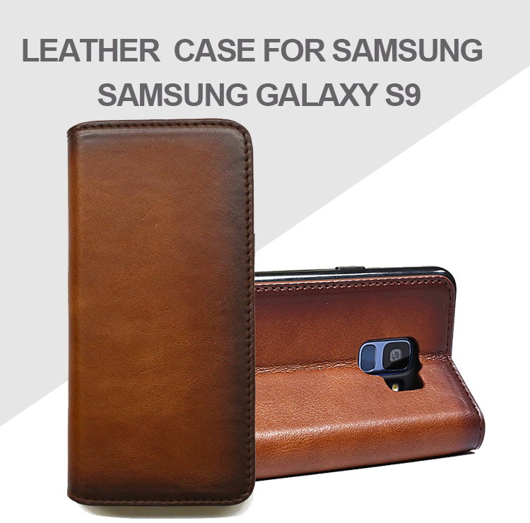 For Samsung Galaxy S9, Simple Business Magnetic Shockproof Color Clash Wallet Genuine Leather Flip Phone Case