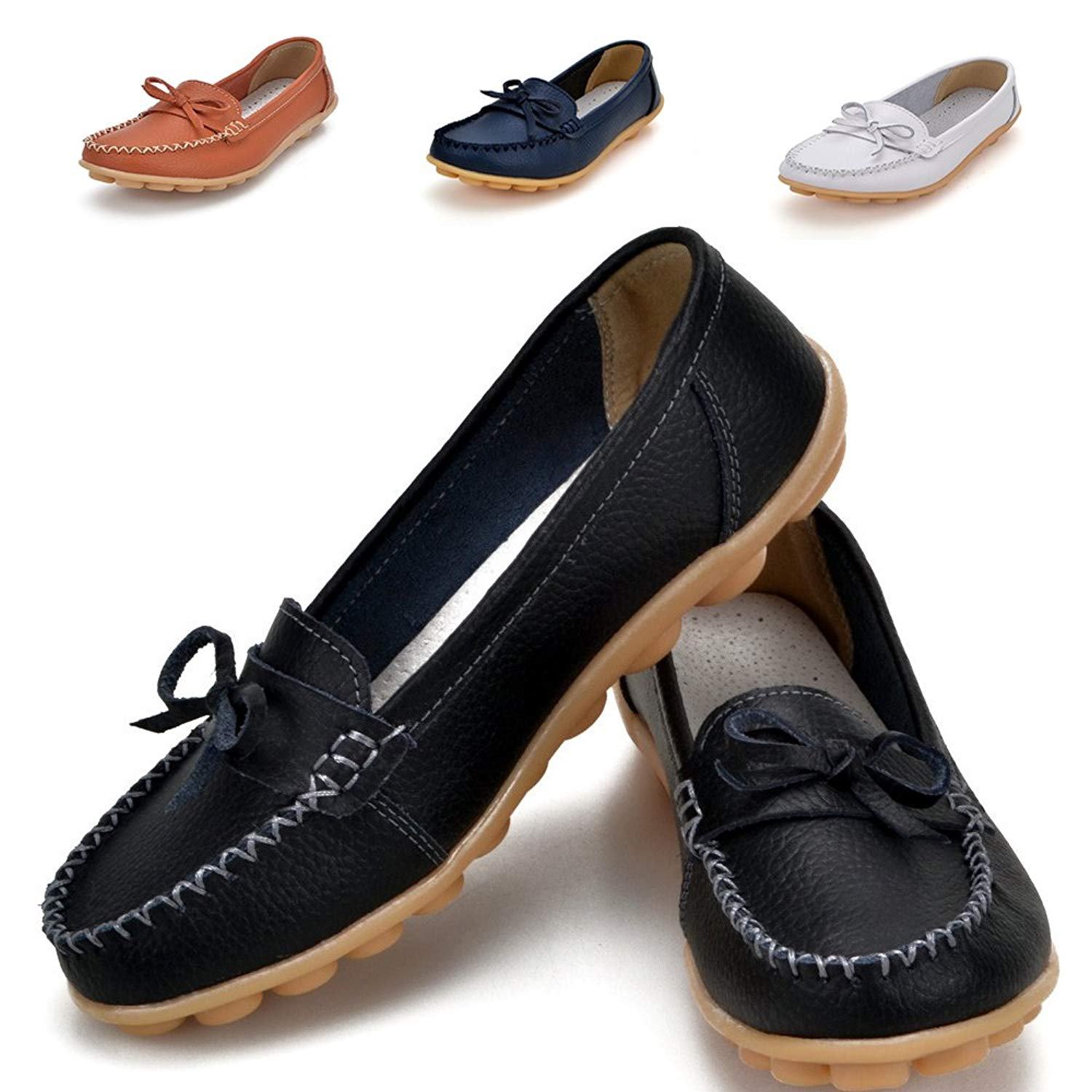 d76393e710a Earsoon Loafers for Women Shoes Leather - 2018 Summer Slip on Loafers  Ladies Comfy