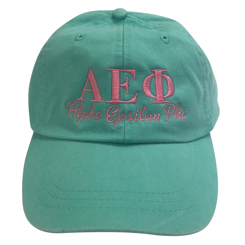 565fc8d8026 Alpha Epsilon Phi (S) Sea Foam Hat with Coral Thread Sorority Baseball Hat  Greek