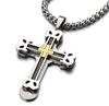 Mens Large Cross Pendant Necklace Steel with Steel Cable Inlay and 30 Inches Wheat Chain