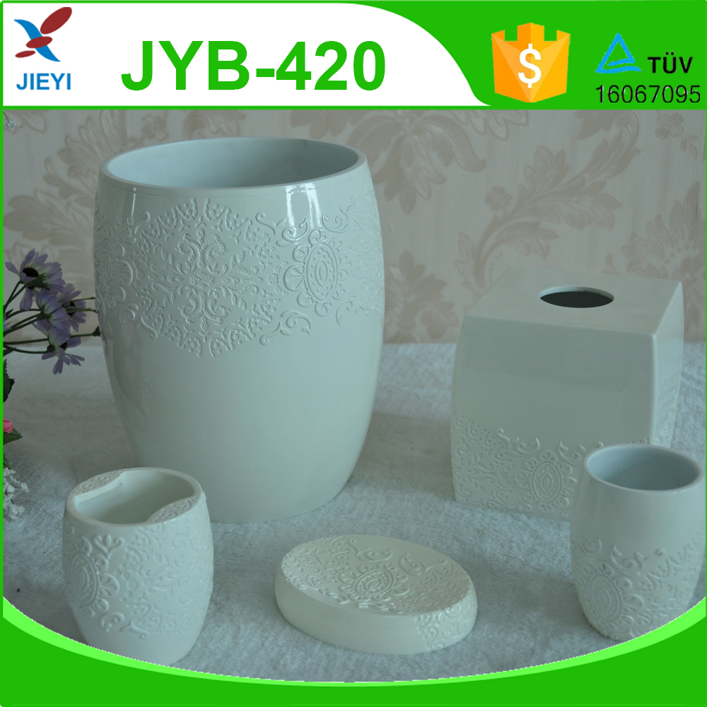 Fashion style high quality ivory white toilet set accessories,bathroom set