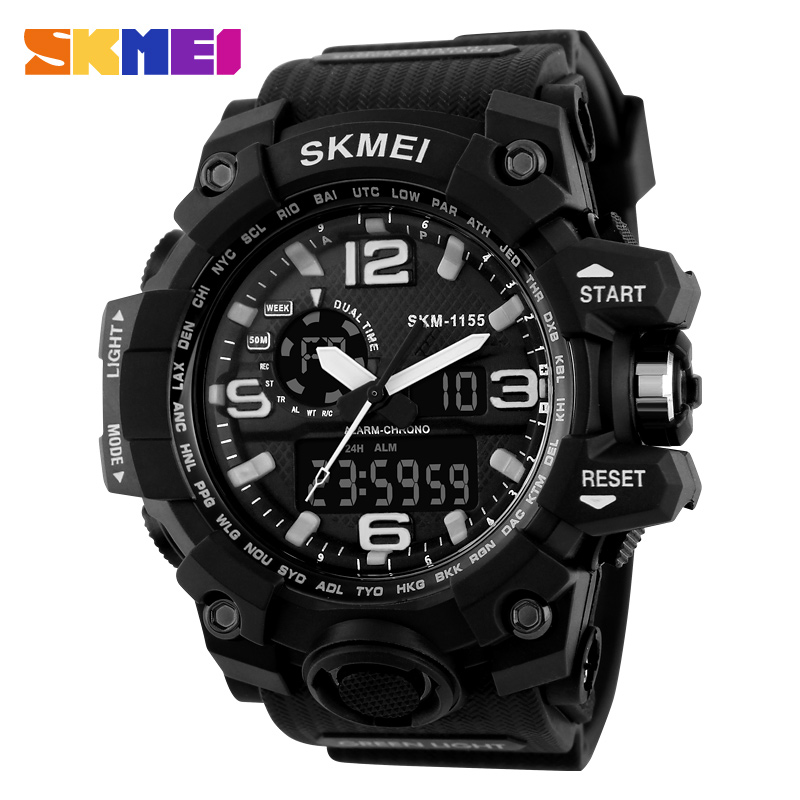 skmei 1155 hot best looking digital watches japan movt dual time sport men dress watch