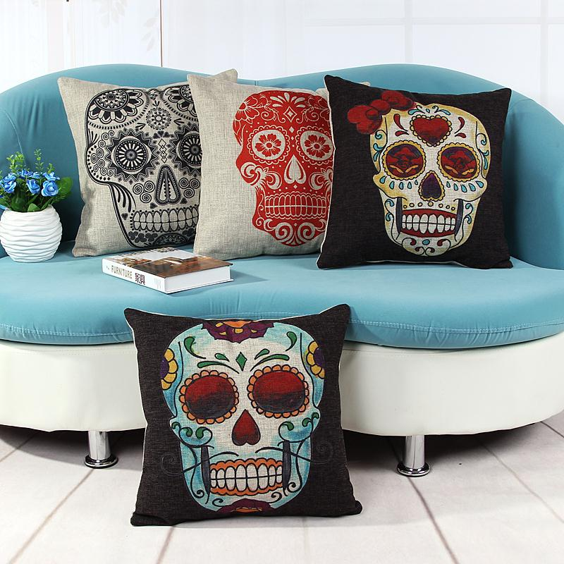 Free Shipping the day of the dead skull Linen Fabric Office Pillow Hot Sale New Home Fashion Christmas Decor 45cm Car Cushion