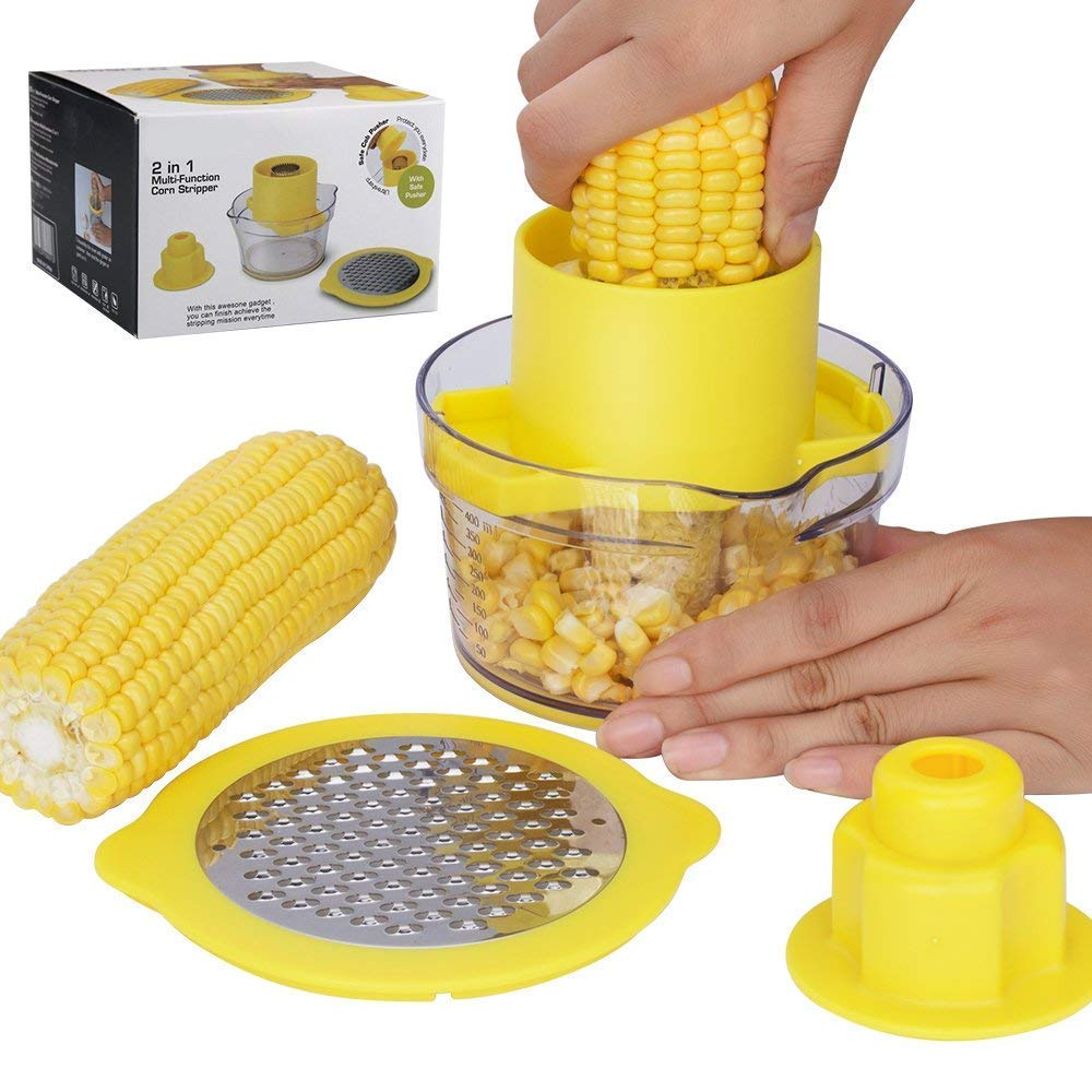 Beaverve Corn Peeler, 4 in 1 Cob Corn Stripper Corn Remover Kitchen Tools with Built-In Measuring Cup & Grater, Corn Cob Cutter, Corn Kerneler Remover Ginger Grater - No Electricity, No Noise, Yellow