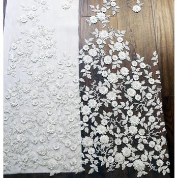 lentejuelas apliques blanco 3d tela de encaje con 3d flores,tela de
