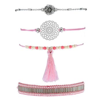 Fashion 4pcs/set Retro Ethnic Style Charm DIY Seed Bead Pattern Pink Color Tassel Women Bracelet