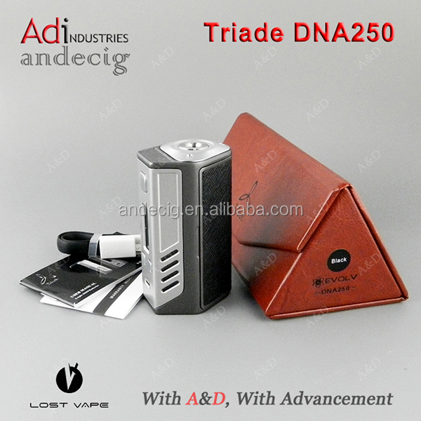 Hot Sales Lost Vape Triade DNA250 Mod 100% Original Lost Vape Triade Evolv DNA 250 3pcs 18650 Batteries With Genuine Leather