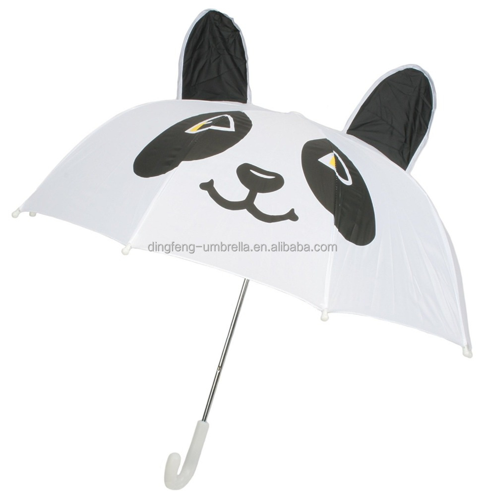 2016 Childrens 3D Dome Animal Umbrella with curved handle white color from China zhongshan supplier