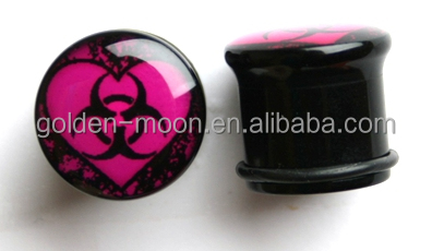 Solid black acrylic plug with bio-hazard sign inlay